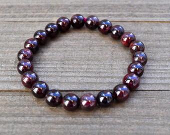 Red Garnet Bracelet/ Garnet Bead Bracelet/ Red Gemstone Bracelet/ Red Stretch Bracelet/ Red Garnet Jewelry/ Unisex/Stackable 5mm