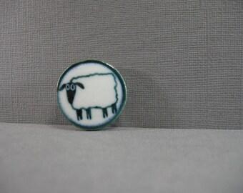 vintage ceramic sheep pin, round sheep brooch, cute, dark teal color, glazed round lamb pin