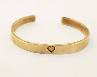 Bronze Anniversary Bracelet, Bronze Cuff With Heart, Personalized Cuff, 8 Year Anniversary Gift, Ladies Bronze Bracelet