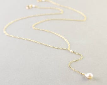 Lariat Pearl Necklace, White Pearl Necklace, June Birthstone, Adjustable