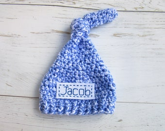 Customized Newborn Hospital Hat, Monogrammed Beanie, Baby Boy Top Knot Hat, Personalized Baby Hat, Boy Coming Home Hat, Blue Baby Boy Beanie