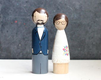 "5"" Medium Fully Custom Wedding Cake Toppers - Wedding Table Centerpiece - Oversized Peg Dolls - Fair Trade"