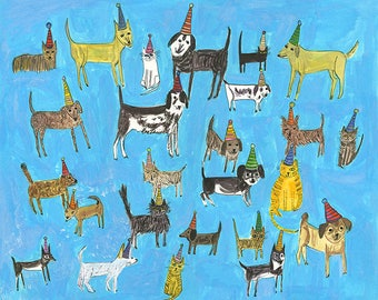 Cat and dog party. Original painting on paper by Vivienne Strauss.
