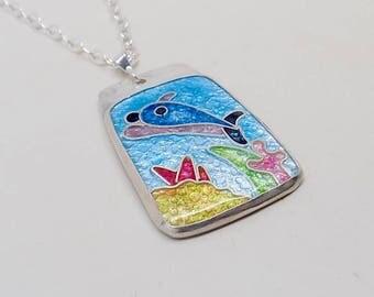 Cloisonne enamel jewelry dolphin pendant necklace.