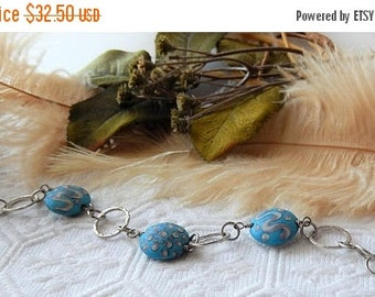 ChristmasInJulySALE..... Sale.....One of a Kind Sterling Silver and Lampwork Glass Bracelet