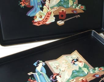 Vintage Paint by Number Tole Tray Black Metal with Asian Geisha Motif ~~~ Two Available