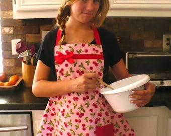 Sweet Cherries Teen girls pink apron