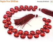 Sale 45% off Full 8 Inches - AAA Cranberry Red Quartz Smooth Heart Briolettes Size 10x10mm approx.