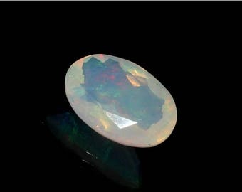 50% Off Sale 10x7 mm 1.55 Ctw Natural Ethiopian Welo Fire Opal Faceted Oval Cut Stone, Loose Opal Gemstone OPS256
