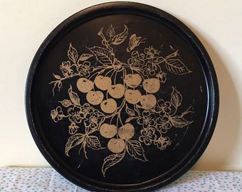 Vintage Black metal serving tray with gold cherries