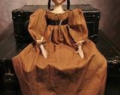 "OOAK Regency Style Folk Art Doll- Black Hair, Brown Dress - 18"""