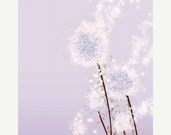 50% Off Summer Sale - Purple Flower Dandelion Art - Perennial Moment (lavender) - 8x10 Print