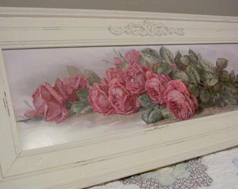 Yard Long Paul de Longpre Framed Print Shabby Cottage American Beauty Roses