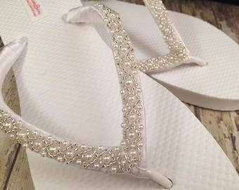 Emma Bridal Flip Flops, Custom Flip Flops Dancing Shoes, Beaded Bridal Sandals, Wedding Flip Flops, Beach Wedding Bridal Shoes