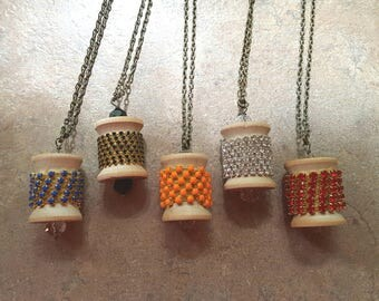 Wooden spool necklace your choice of one vintage Handmade