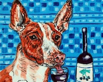 20 % off storewide ibizan hound at the wine bar dog art print on Tile coaster gift  modern folk pop art JSCHMETZ