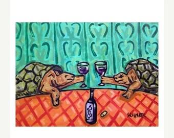 20 % off storewide Turtles Toasting wine art PRINT JSCHMETZ MODERN abstract folk pop art 11x14