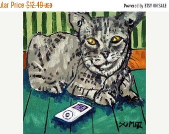 20 % off storewide Grey Cat Listening to Music on an Ipod Animal Art tile coaster Gift