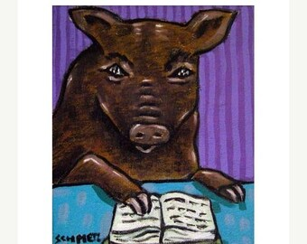 20 % off storewide Pig Reading Animal Art Print
