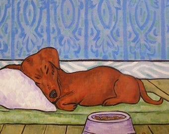 20% off Dachshund, doxie, sleeping in a dog bed, TILE, coaster, dog art, dog, dachshund tile, dachshund coaster,dachshhund art,bedroom art