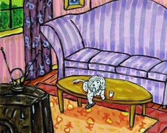 Maltese Watching Television Dog Art Tile Coaster