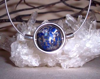 LAPIS-METAL-MATRIX -hand-cut -Stone Sphere Necklace
