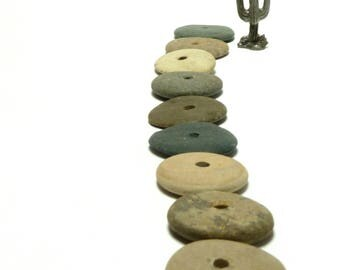 Genuine Drilled Beach Stone TUMBLEWEED Spacer Donuts Focal Jewelry Beads Natural Pebble Cairn Rustic Desert Charm River Rocks Strand