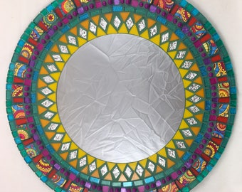 "18"" Stained Glass Mosaic Mirror funky rainbow colors"