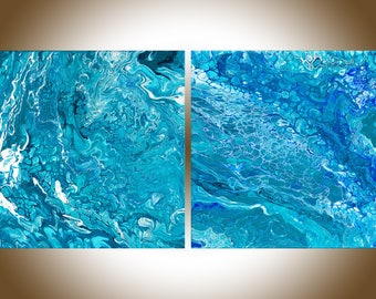 Abstract painting blue original artwork modern art home decor wall art wall hanging painting on canvas by qiqigallery
