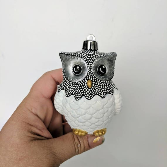 Black white and gold Owl Ornament: Shatter Resistant Hand Painted plastic Owl Ornament black and white