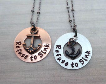 Refuse to Sink Necklace - Anchor Necklace- Empower Women - Mantra Affirmation Necklace- Inspirational Her - Empowerment Jewelry-S258