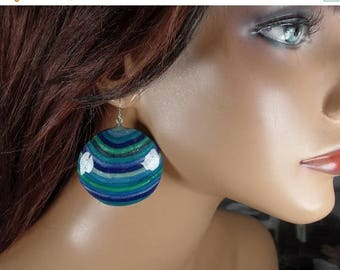 ON SALE Polymer Clay round dangle earrings, blues and greens, ooak
