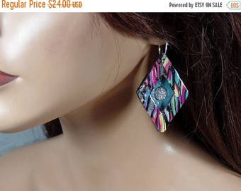 ON SALE Polymer clay earrings with silver titanium druzy stones, multi-colored shadow-box, ooak