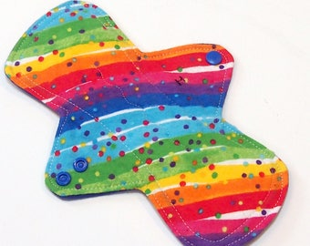 "9 inch Reusable Cloth Menstrual pad - HEAVY flow -bamboo/cotton core - PUL - cotton flannel top - ""Rainbow Confetti"""