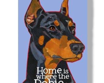 Doberman Pinscher metal sign, cropped, natural ear, black/tan, red/tan, aluminum wall art, doberman home decor
