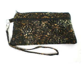 Summer Clearance Smartphone iPhone Cell Phone Case, Double Pocket Wristlet, Detachable Strap, Black with Brown and Gold Floral Batik
