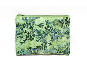 Cosmetic Case, Cord Case, Bridesmaid Gifts, All-Purpose Zipper Case, Green Leaf Batik 9050