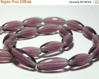 50% OFF Vintage Purple Oval Glass Beads 15x6mm (6)