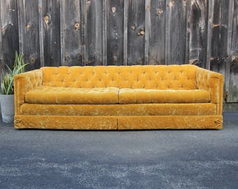 Orange Crushed Velvet Chesterfield Tufted Sofa Couch