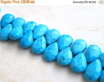 Deep Discount Sale Howlite Dyed Turquoise Gemstone Faceted Pear Briolette 11 to 12mm 13 beads