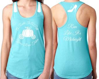 Cinderella Running Tank - White Vinyl Shirt Detail - Pumpkin Carriage, Race Distance in Slipper, Run Like It's Midnight