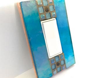 Iridescent Turquoise Light Switch Cover, Blue Stained Glass, Decorative Switch Plate, Mosaic Stained Glass, Decora Switch, Outlet Cover 8895