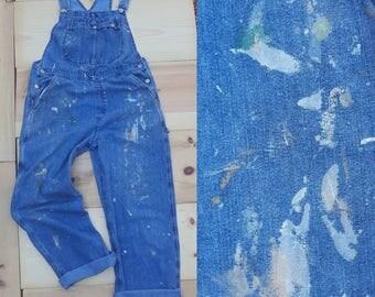 Vintage Overalls  // Vtg Riveted by LEE Distressed Trashed Paint Splattered Stone Wash Denim Bibs