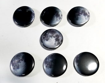Phases of the Moon 1 inch button set