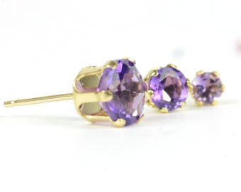 Amethyst earrings, one pair 9k yellow gold and amethyst studs, 3mm, 4mm, 6mm, purple gemstone earrings, February birthstone, birthday gift