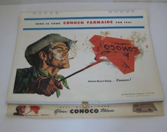 Vintage Conoco Farmaide 1961 Calendar Conoco Man