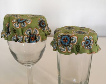 Reusable Wine Cup Glass Cover Green Orange Flowers Fabric