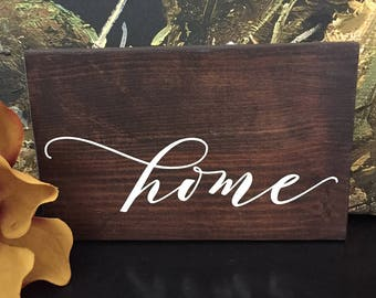 Home Wood Sign - Cottage Decor - Farmhouse Decor - Lettered Sign - Brown Stain with White Quote - Gather Sign