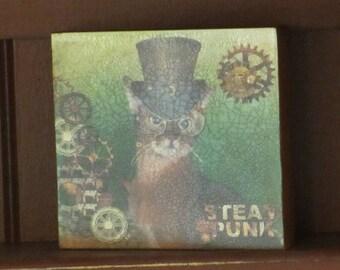 Wood Plaque Steam Punk Cat Wearing Glasses/Top Hat