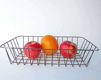 Vintage  Wire Ware Catchall, Table Top, Office Desk Basket with Old Worn Surface, Wire Basket, Storage Basket, Fruit Basket